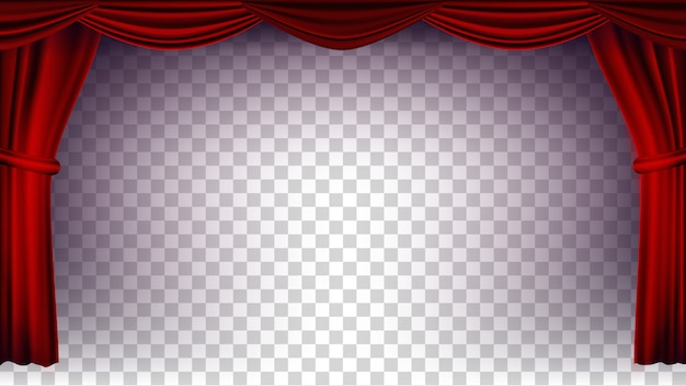 Red theater curtain vector. transparent background for concert, theater, opera or cinema empty silk stage, red scene. realistic illustration Premium Vector
