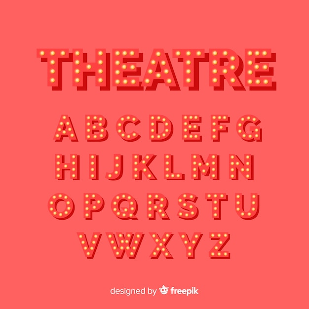 Red theater light bulb alphabet Free Vector