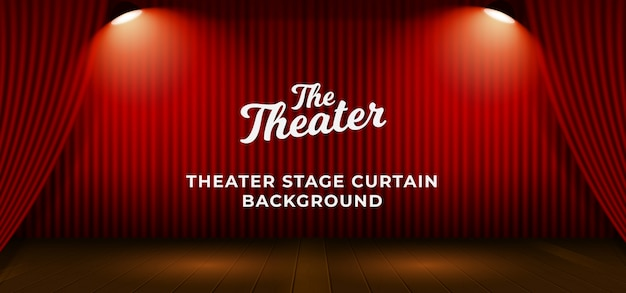 Red theater stage curtain with wooden floor base and double bright spotlight lamp vector illustration. backdrop with text template Premium Vector
