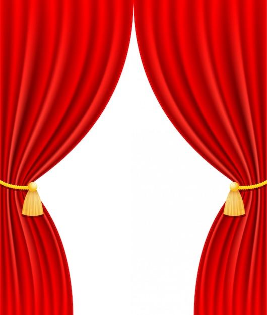 Red theatrical curtain vector illustration Premium Vector