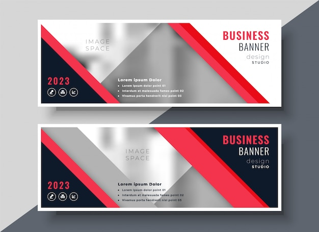 Red theme business banner or presentation template design Free Vector