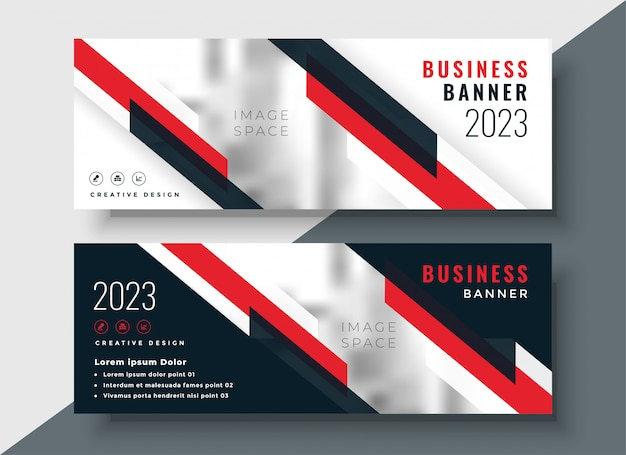 Red theme corporate business banner design Free Vector