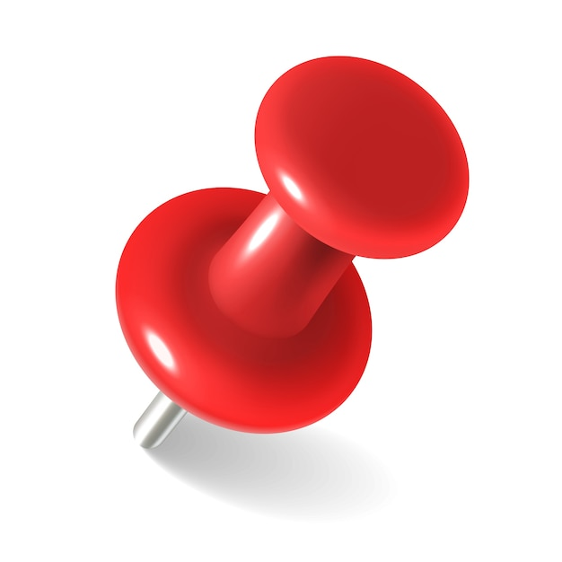 Premium Vector | Red thumbtack. round metal pushpin for attach memo and  pinned documents