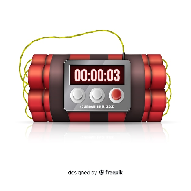 Red time bomb realistic design Free Vector