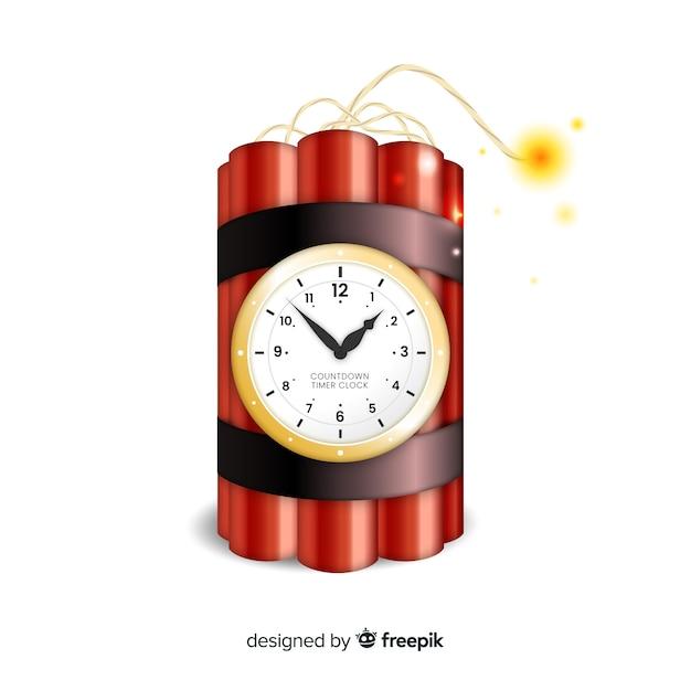 Design realistico bomba a orologeria rossa Vettore gratuito
