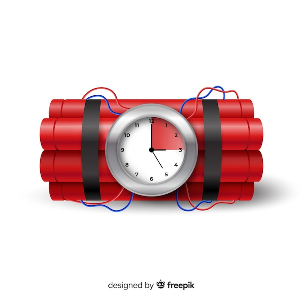 Red time bomb realistic style Free Vector