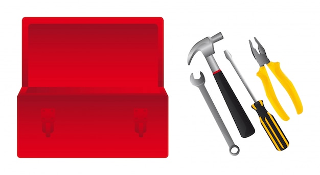 Red tools box with tools Premium Vector