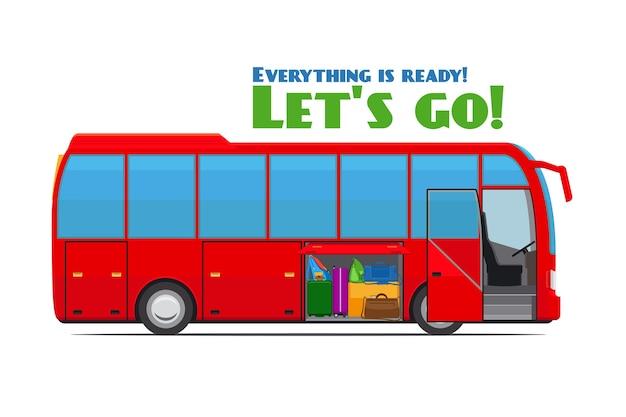 Autobus turistico rosso con vano bagagli aperto. illustrazione vettoriale Vettore gratuito