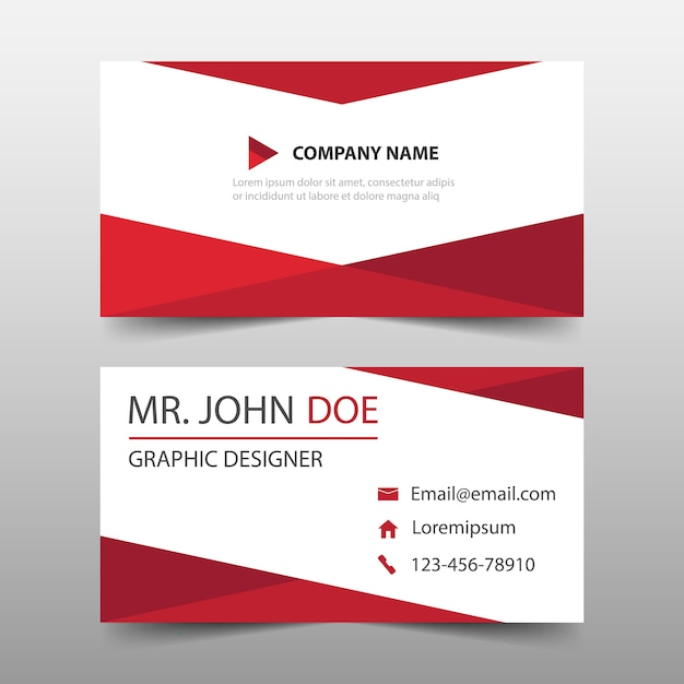 Red Triangle Corporate Business Card Template Vector Free Download