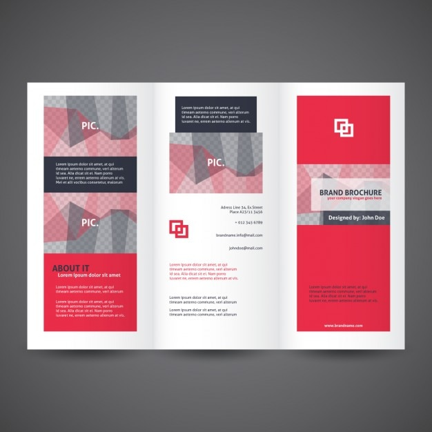 Red trifold brochure template vector free download for Three fold brochure template free download