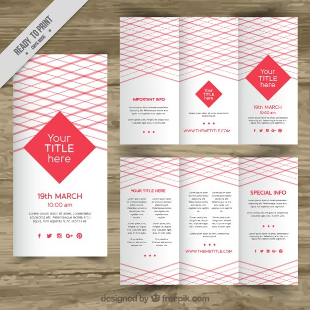 red trifold brochure template vector premium download