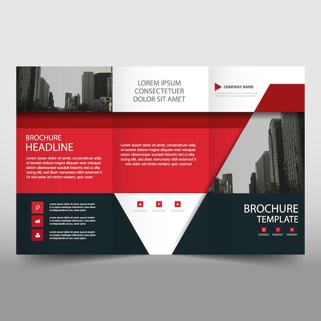 Red trifold business brochure template with triangular for Red brochure template