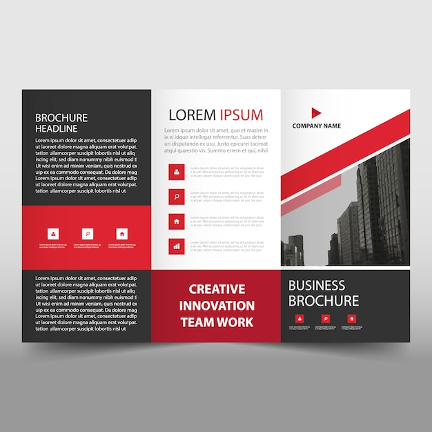 Red trifold business flyer template Free Vector