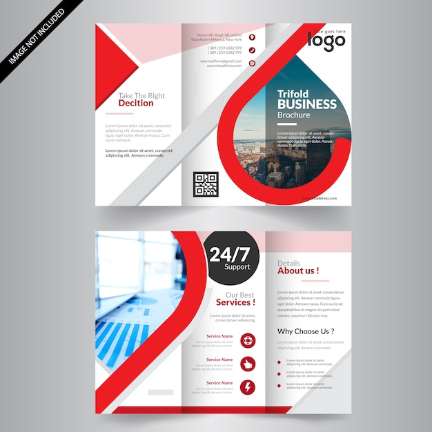 Red Trifold Flyer Template Vector Premium Download