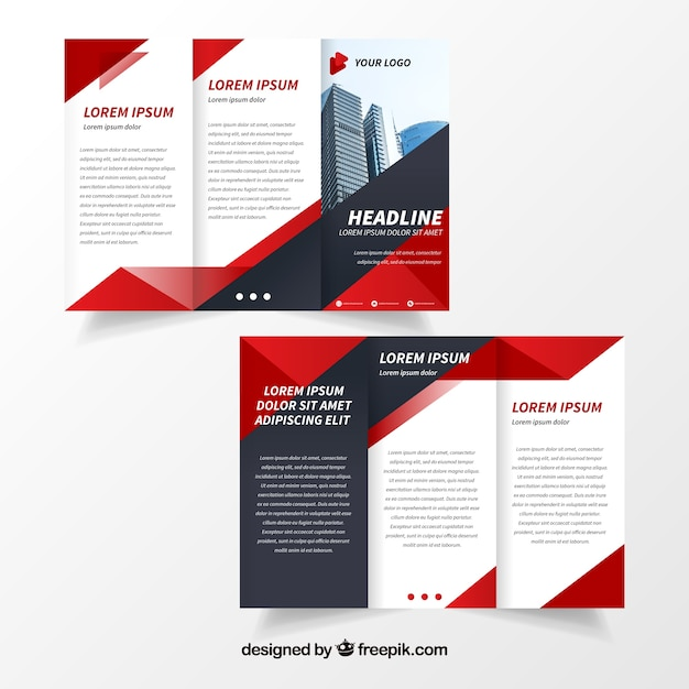 red trifold flyer template vector free download
