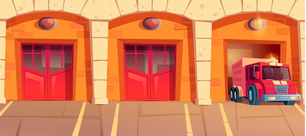 Red truck leaving fire station garage box. car with signaling driving on emergency call from firehouse. municipal city service, department hangars with close and open doors cartoon illustration Free Vector