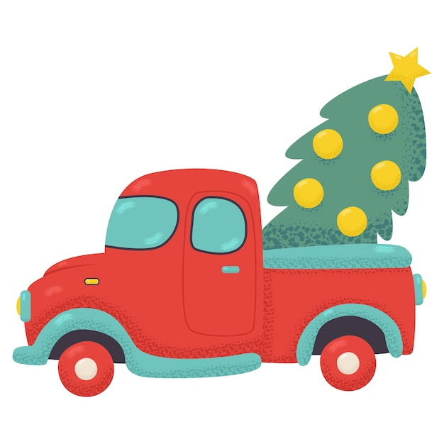 Premium Vector Red Truck With Christmas Tree Cartoon Illustration Isolated On A White Background Lot's of fun learning cartoon for children with street vehicles and constructions trucks. https www freepik com profile preagreement getstarted 10409185
