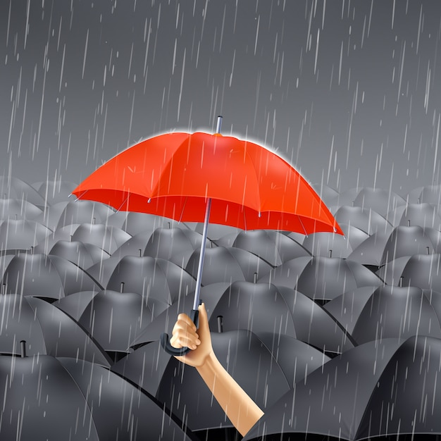 Red umbrella under rain Free Vector