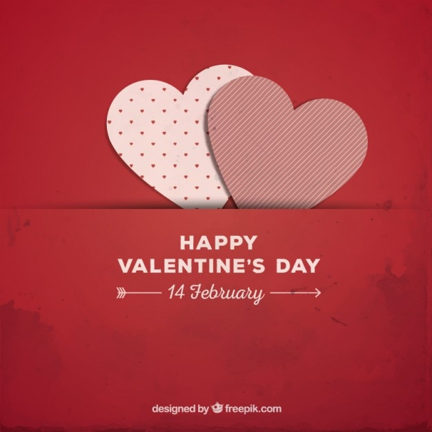 Red Valentine background with paper hearts Free Vector
