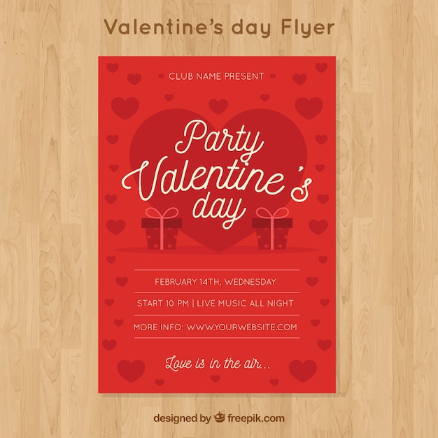 Red Valentine Flyer Template Vector Free Download - Valentine flyer template free