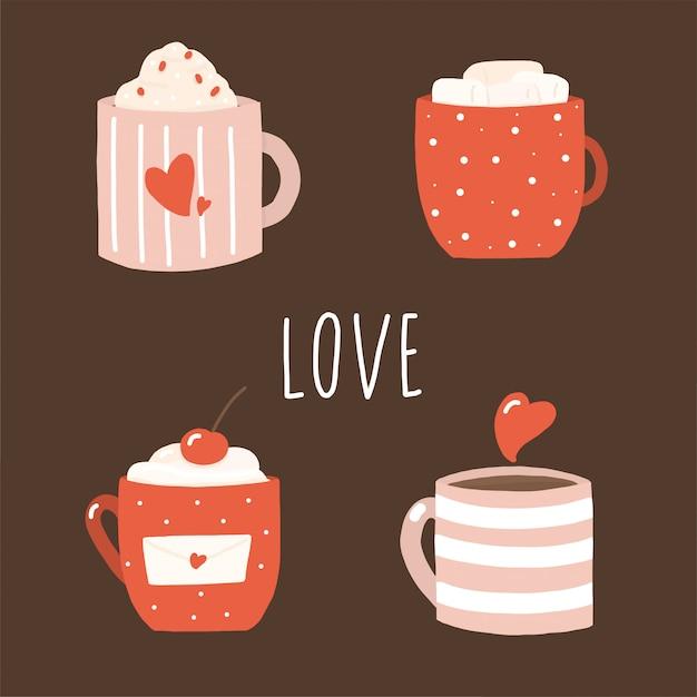 Красный валентина кофе в стиле ретро на коричневый Premium векторы