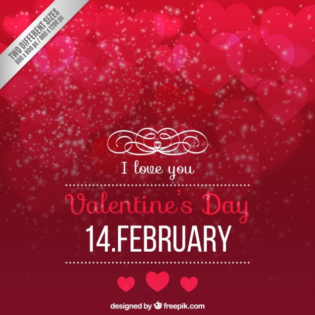 Red valentines day background in bokeh style Premium Vector