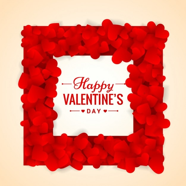 red valentines day frame made of hearts vector | free download, Ideas