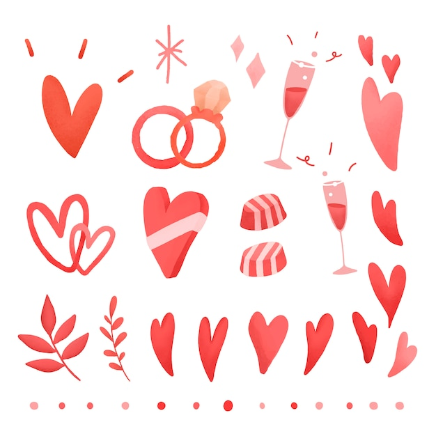 Red valentines love doodle set Free Vector
