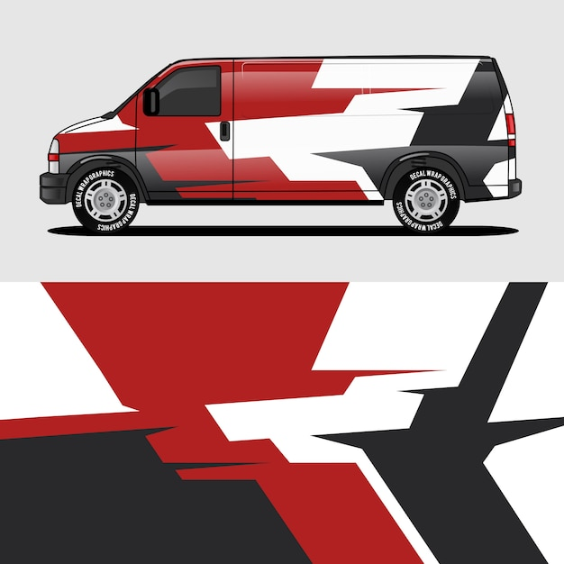 Red van wrap design wrapping sticker and decal design Premium Vector