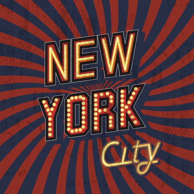 Red vector vintage new york t-shirt print with shabby texture Free Vector