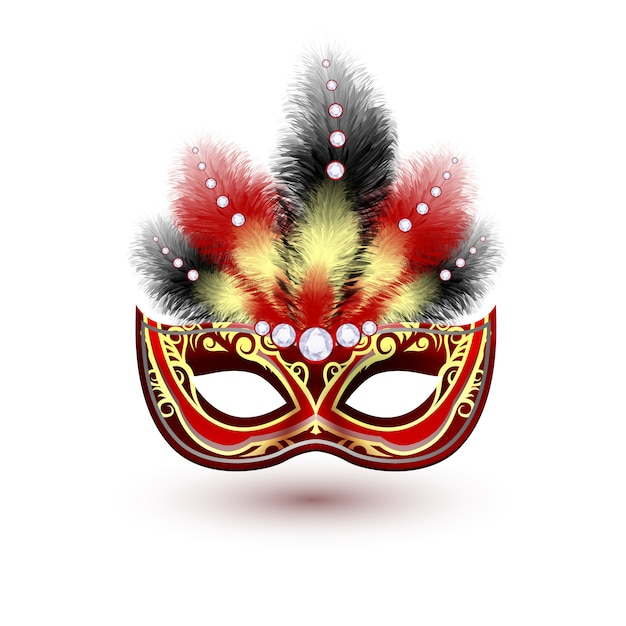 Red venetian carnival mardi gras colorful party mask with decoration feathers and diamonds vector illustration Premium Vector