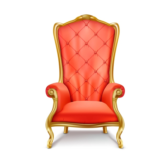 Red vintage armchair in a realistic style Free Vector