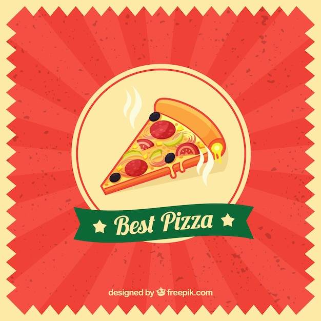 Red vintage background with slice of pizza Free Vector