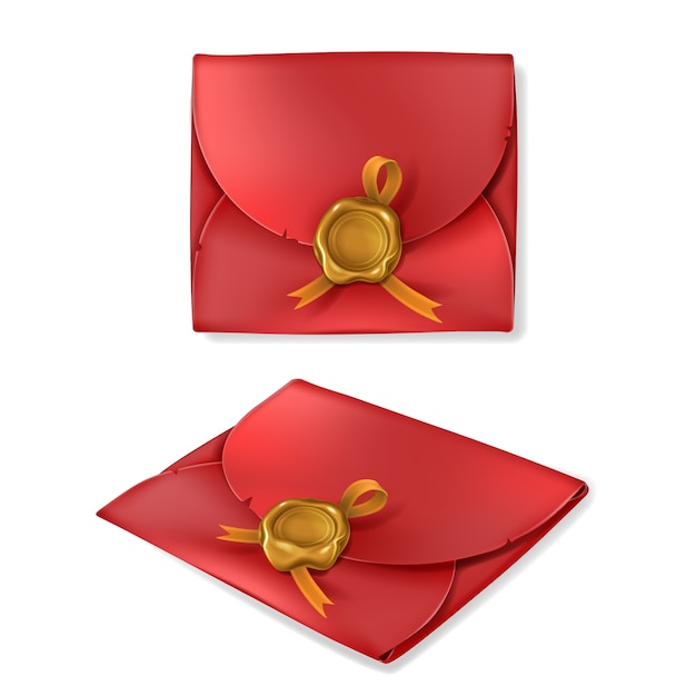Red vintage envelope with gold wax seal in realistic style Free Vector