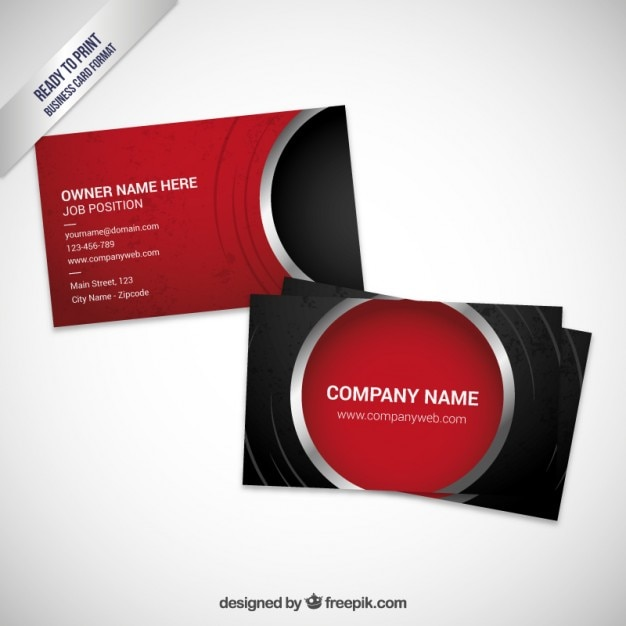 Red visit card template Free Vector