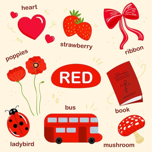 영어로 된 빨간색 어휘 세트 무료 벡터