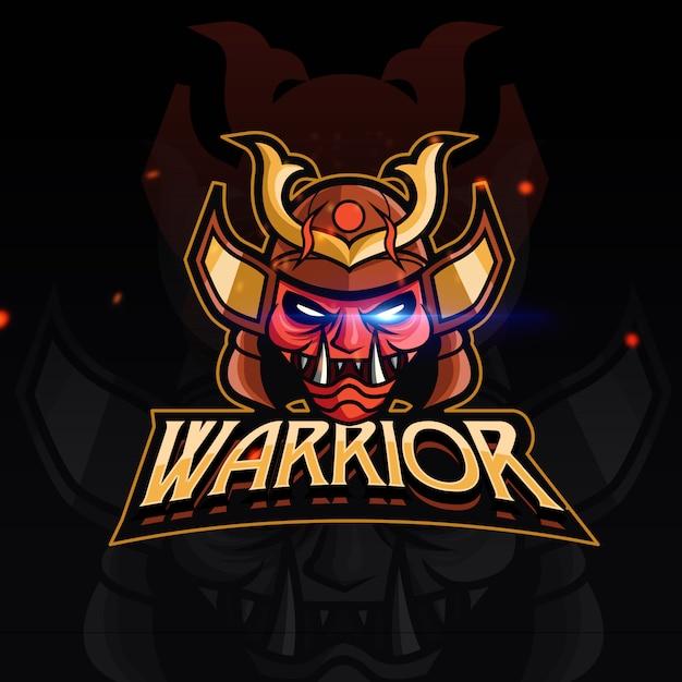Red warrior sport gaming logo Premium Vector
