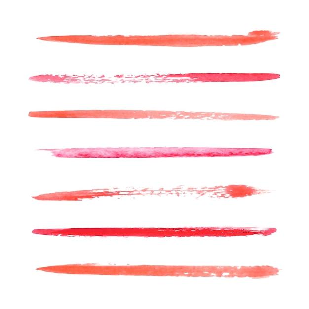 分離された赤い水彩筆ストロークコレクション Premiumベクター