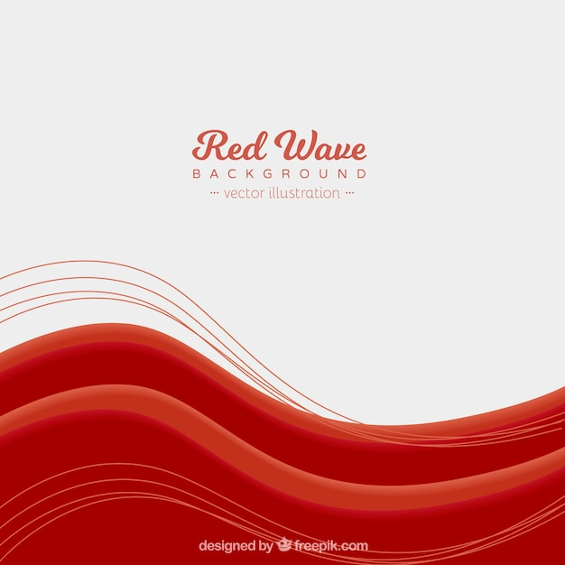 Red waves background with flat design Vector | Free Download