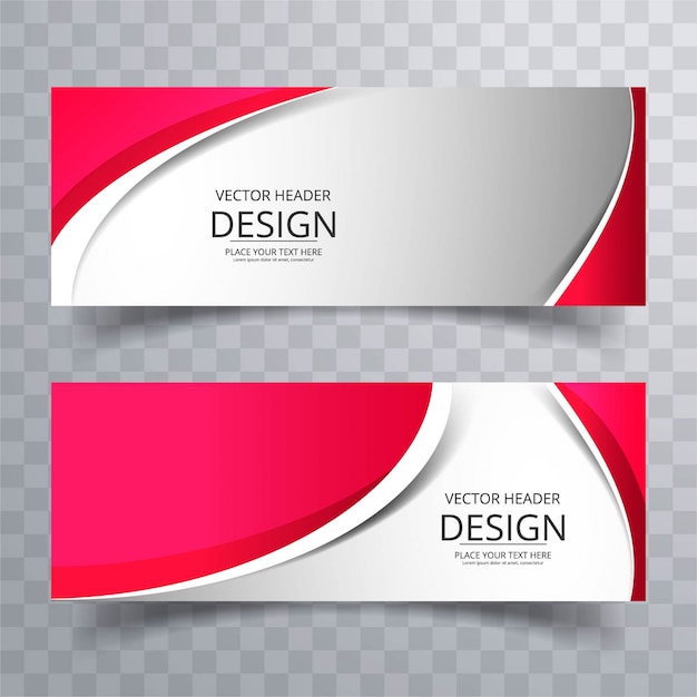 Red wavy banners Free Vector