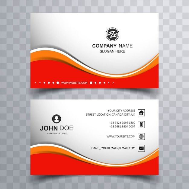 Red wavy business card Free Vector