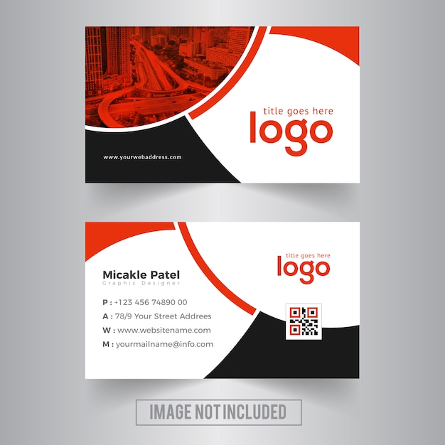 Red Wavy Business card Premium Vector