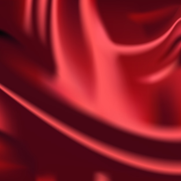 Red wavy silk fabric drapery background abstract cloth Free Vector