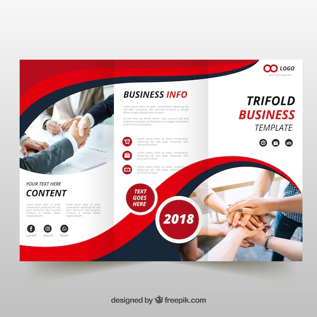 Red wavy trifold brochure Premium Vector