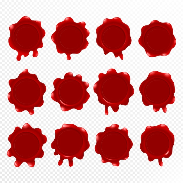Red wax seal isolated, Premium Vector