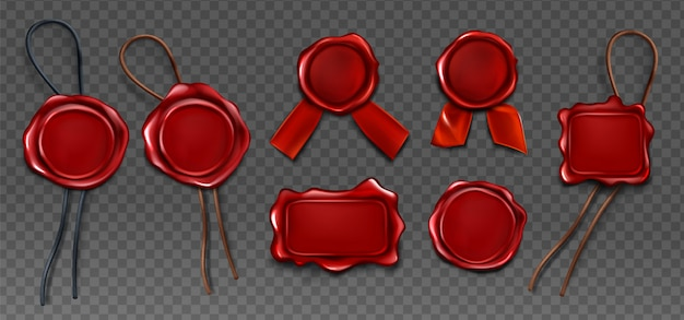 Red wax seal stamp approval sealing icons set Free Vector