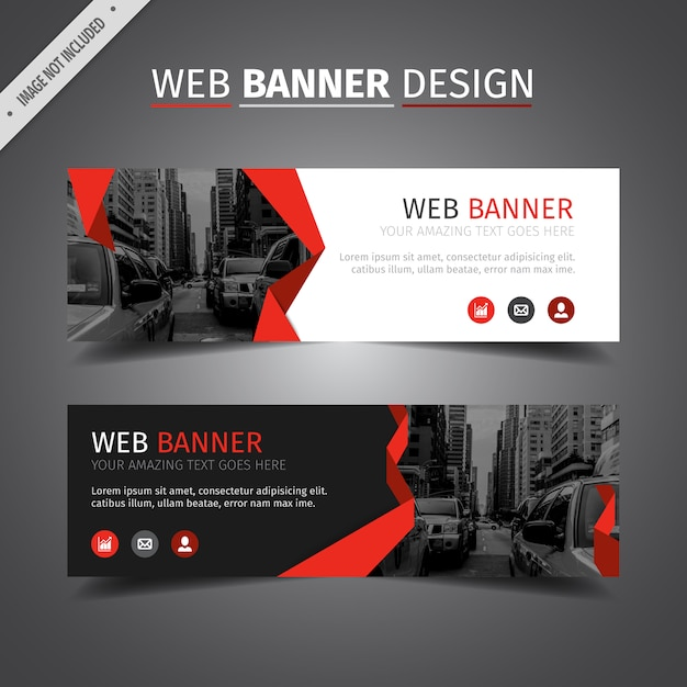 Red web banner design Free Vector