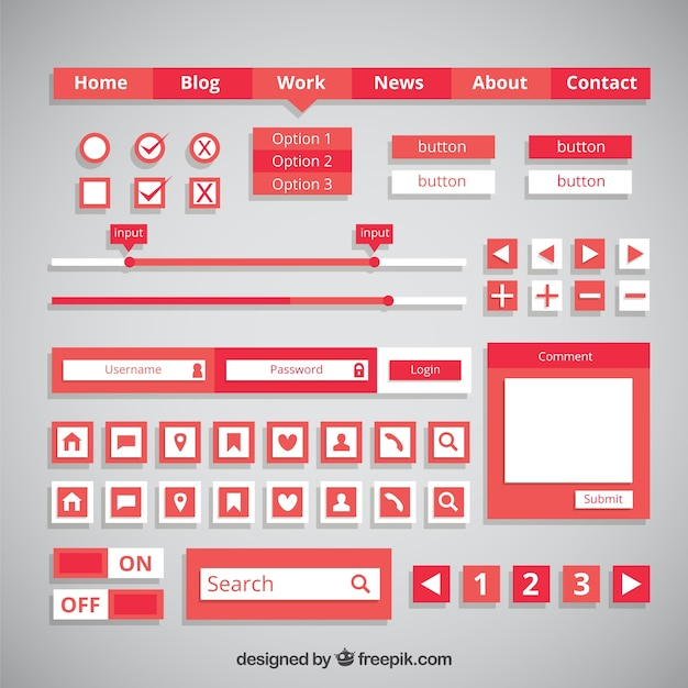 Red web buttons and elements in flat design Free Vector