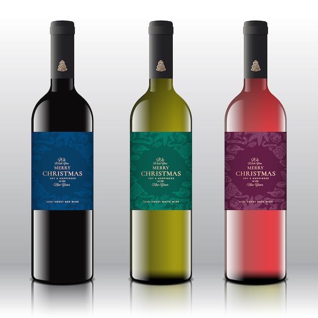 현실적인 병에 빨간색, 흰색 및 분홍색 와인 세트. 프리미엄 벡터