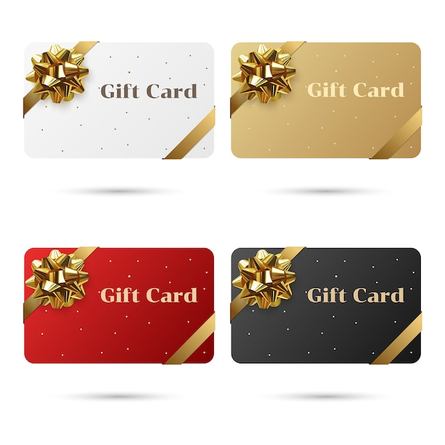Red, white, black, gold set of blank gift cards with golden bow and ribbon. Premium Vector